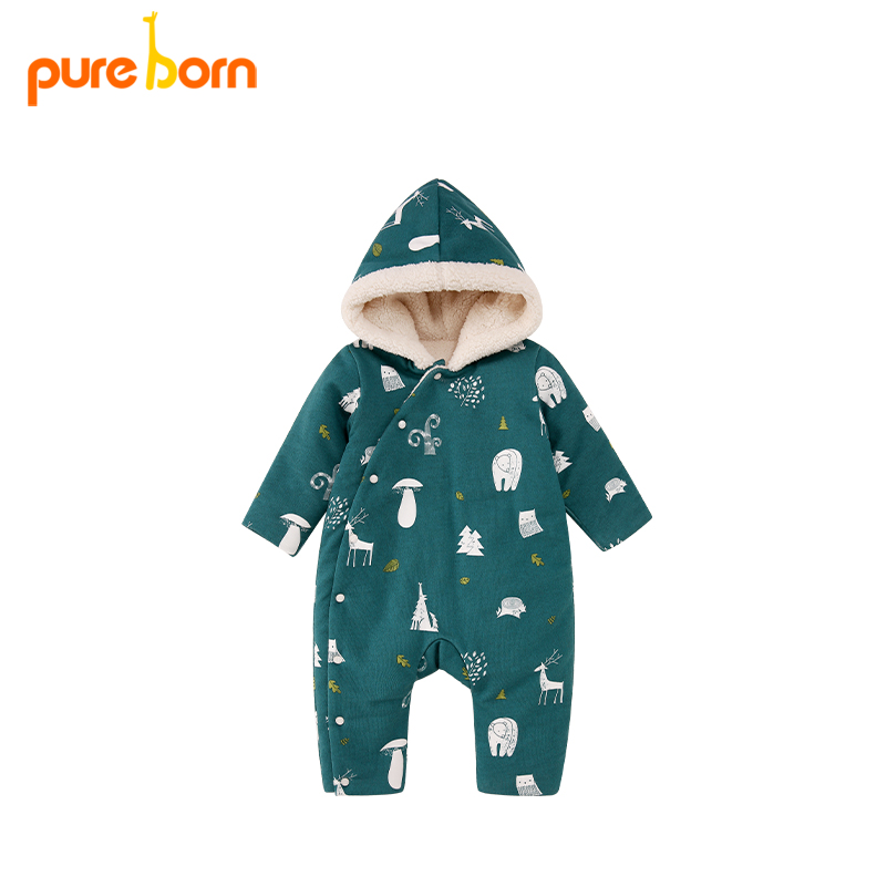 Pureborn Christmas Deer Baby   Romper   For Baby Boys And Girls Hooded Thick And Warm Winter New Year Gift Brand Costumes
