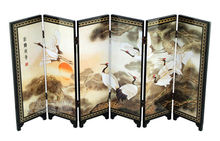 Home Decor Chinese Lacquer Painting Beautiful Folding Screen Songhe pattern-Cranes longevity figure decoration gift