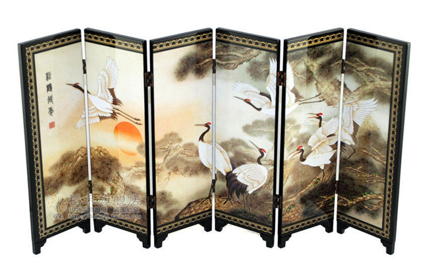 home decor chinese lacquer painting beautiful folding screen songhe pattern cranes longevity figure decoration gift