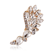Angel Wings crystal Clip Earrings Left Right Silver Gold Earring Clip Ear Cuff Earring Jewelry FY025