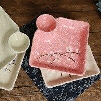 2 unidades Japonés de cerámica cuadrada placa dumpling/Creativo plato hondo de cerámica/ciruela vajilla de cerámica pintado a Mano