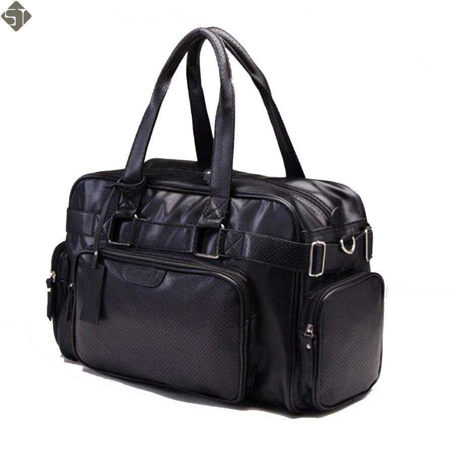 Mode PU zippé hommes ou femmes sac de voyage polyvalent solide imperméable noir Cool sacs à bandoulière sac à main multifonction Duffle-in Voyage Sacs from Baggages et sacs    1