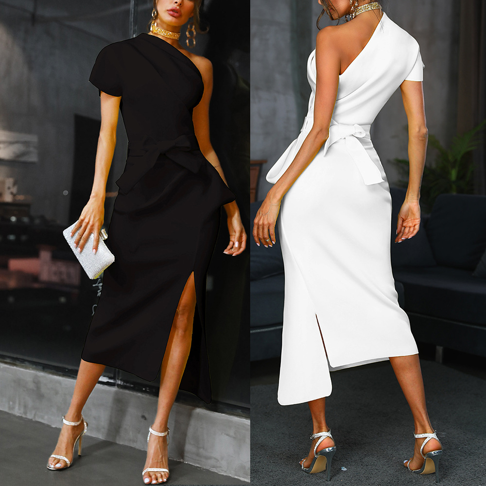 Sexy Bodycon Dress Women Assymetrique Cold One Shoulder Belted Bowtie Long Vestido Plus Size White Yellow Celebrity Party Robes