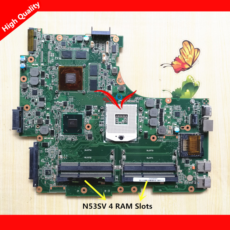 NEW For ASUS N53SV N53SN N53SM Original laptop motherboard (mainboard) GT540M 4RAM slots REV2.0 Rev2.1 REV2.2 USB 3.0