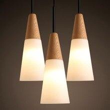 Lámpara colgante de madera de roble nórdico, moderna lámpara colgante Circular de cristal con forma de cono para comedor, lámpara colgante para dormitorio, bar, cafetería, accesorio de iluminación