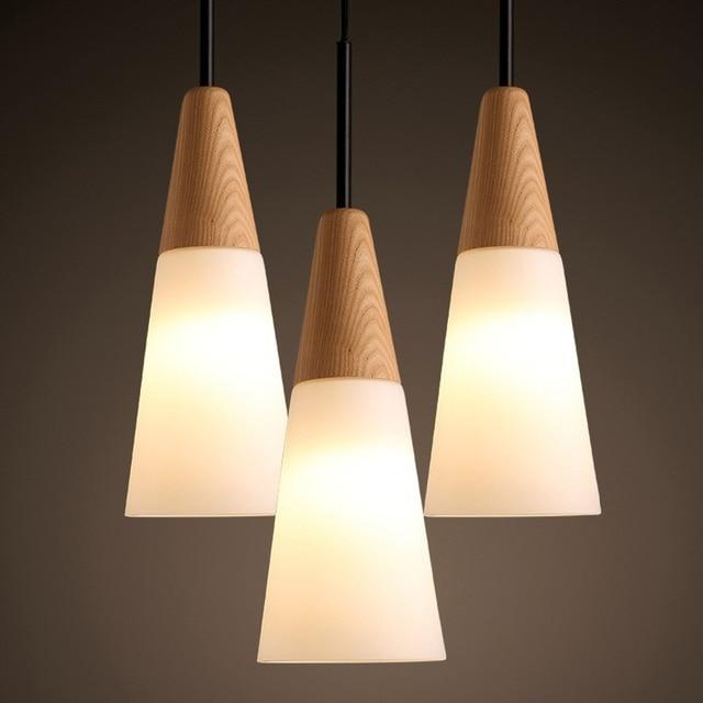 Nordic Oak Wood Glass Pendant Lamp Modern Circular Cone