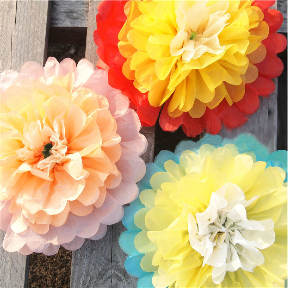 5pcs 10\'\' Giant Paper Flowers Hanging Artificial Fake Tissue Flower ...