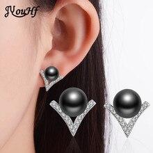 JYouHF Fashion Women Jewelry White Grey Pearl Stud Earrings for Women Female Simple V Shaped Design Earings Bijoux Wholesale