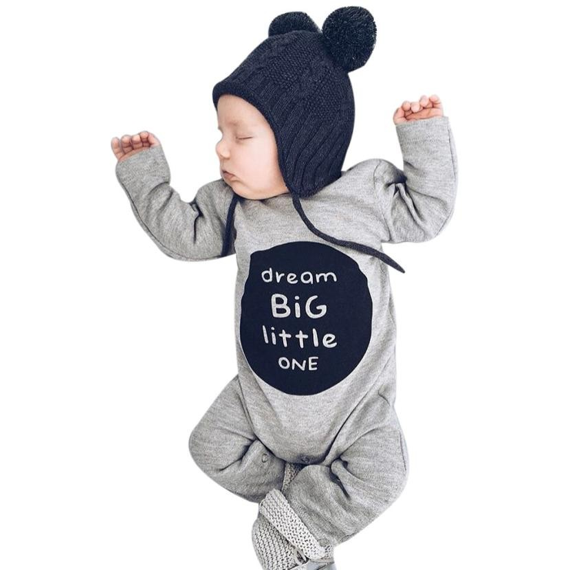 MUQGEW Baby Boy Girl Spring Autumn Long Sleeve Letter Romper Jumpsuit Round neck Clothes Outfits Mamelucos Para Bebes Q06