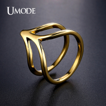 UMODE Brand Newest Design Hot Dark Gold Plated Cocktail Ring For Women Jewelry Fashion Anillos Mujer