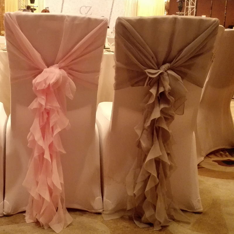 Fancy Chair Covers Grey Floral Wedding Decoration Marriage Chiffon Hood Sash Event Party Supplies Accessories Favors And Gifts 30sets In Cover From Home