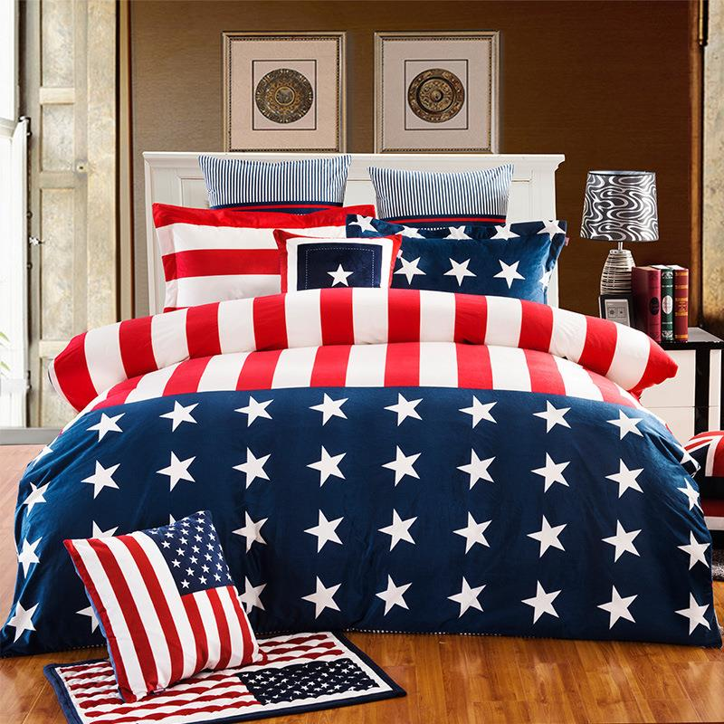 New British style velvet bedding set,America article star flag bed  TK39
