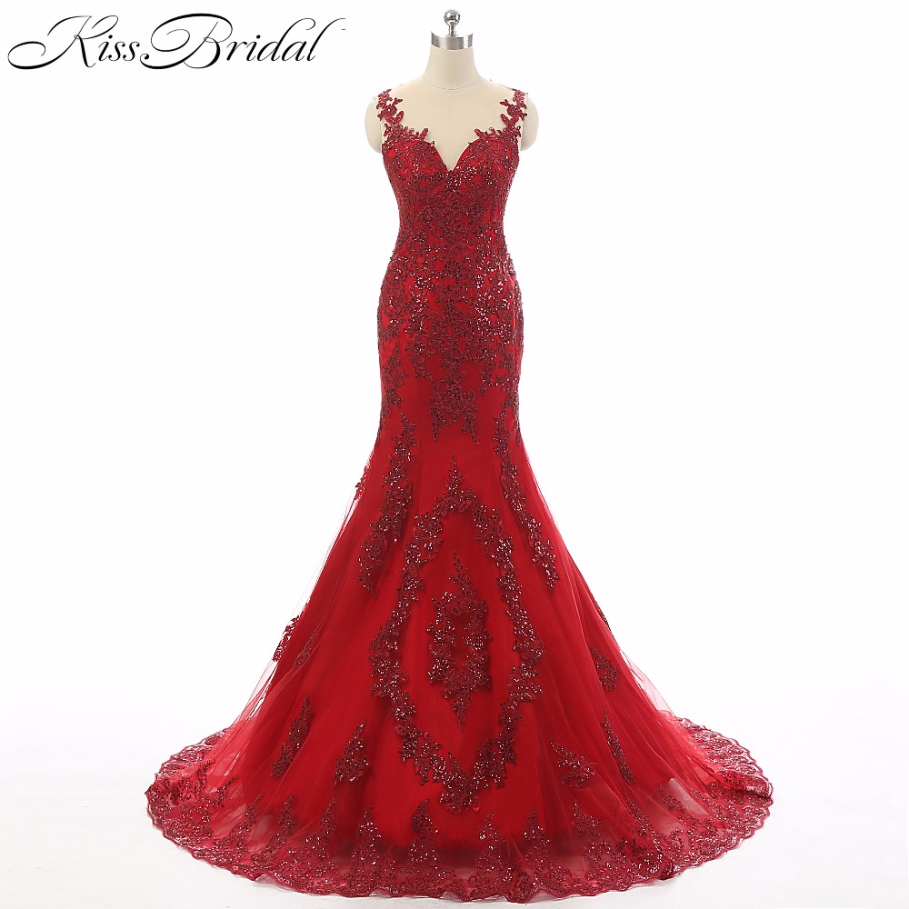 2018 Vestido longo New Elegant Red Evening Dresses Women Party Gown Mermaid Lace Appliqued Prom Dress