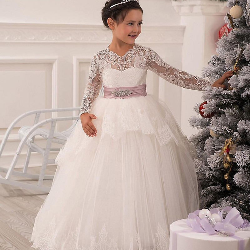 Lace Ball Gown Long Sleeves Flower Girl Dress Solid O-Neck Ankle Length Bow Sash Vestidos Primera First Comunion 2017 2017 long sleeve pink kid flower dress scoop neck with lace and bow ball gown ankle length prom princess pageant custom made