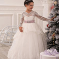 Lace Ball Gown Long Sleeves Flower Girl Dress Solid O-Neck Ankle Length Bow Sash Vestidos Primera First Comunion 2017