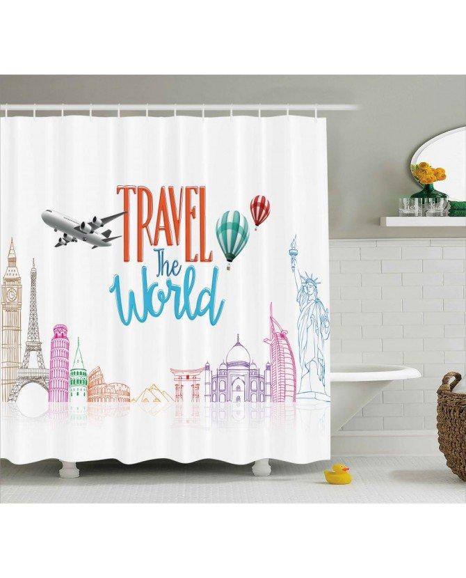 Quote Shower Curtain Travel World Lettering Print For