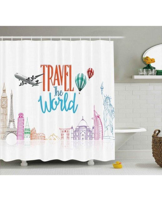 Quote Shower Curtain Travel World Lettering Print For ...