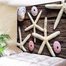цена на Wood Tapestry Wall Hanging Hippie Starfish Decorative Wall Tapestry Bohemian Fabric Boho Wall Cloth Nordic Nautical Home Decor