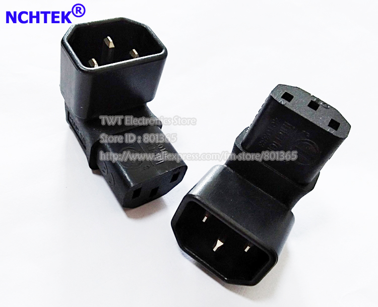 NCHTEK IEC 320 C14 Male to C13 Female Down Angle Adapter,90 Degree C14 to C13 for LCDLEC TV Wall Mount,25pcs , Free shipping