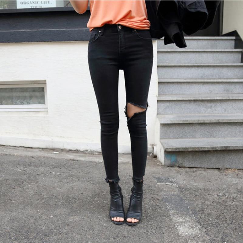 Spring Summer Irregular Stretch Ripped Holes Denim Jeans Women Skinny Tassel High Waist Pants Capris Female Pencil Jeans 2019