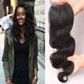"""6A Wet and Wavy Brazilian Hair Body Wave Lace Closure 12""""-20"""" Free/ Middle /Three Part Natural Black Swiss Lace Silk Closure"""