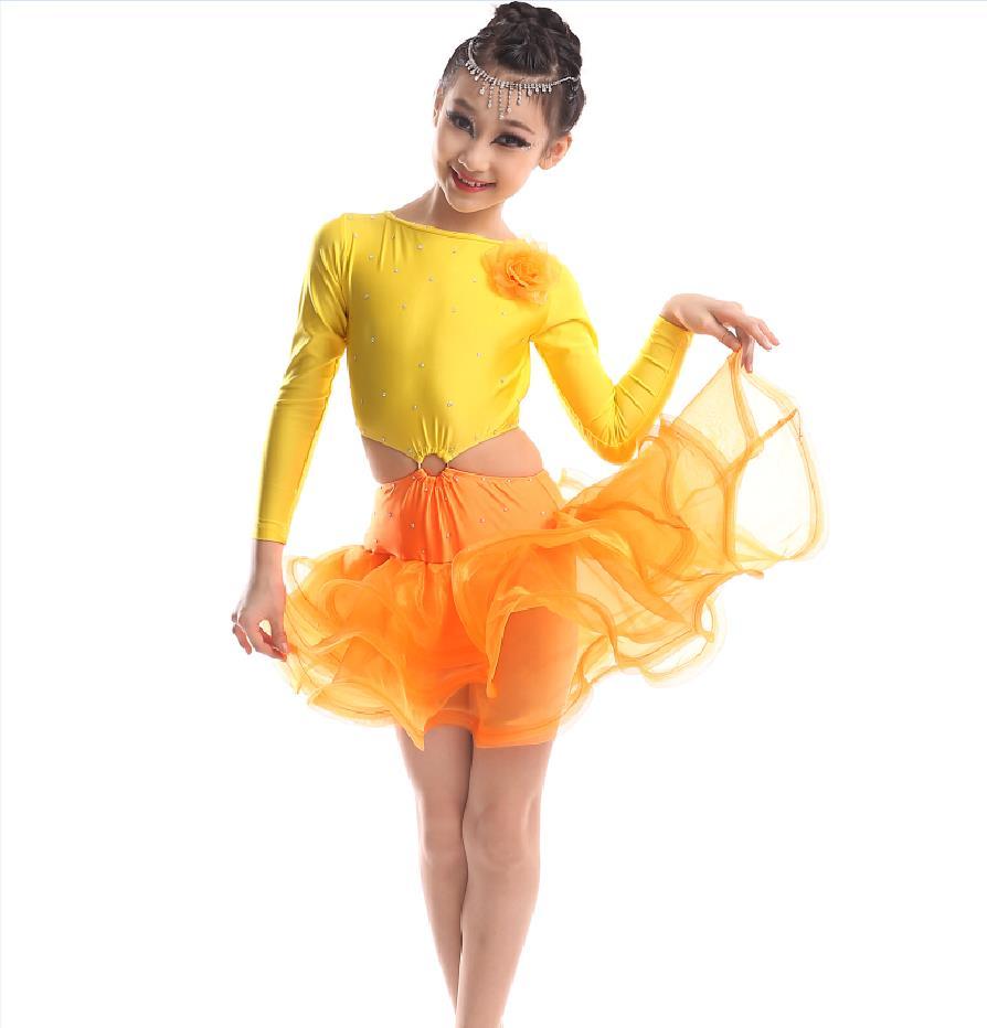 Diamond Long Sleeves Spandex Latin Dance Dress For Girls High Quality Children Stage Performance Ballroom Dancing Kids Costumes