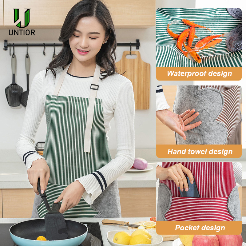 UNTIOR Women Aprons Waterproof Adjustable Neck Strap Absorbent Cooking Gardening BBQ Baking Sleeveless Kitchen Apron with Pocket|Aprons| |  - title=