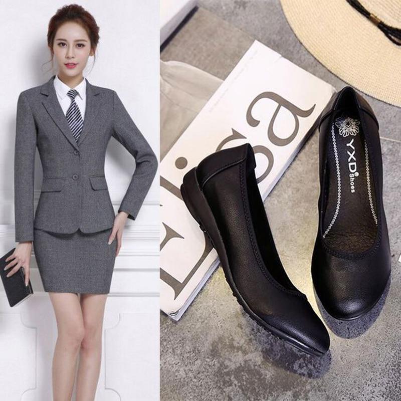 5a76b5a5b582 Work shoes women black leather shoes professional slippery soft bottom  formal dress stewardess Office woman s sho