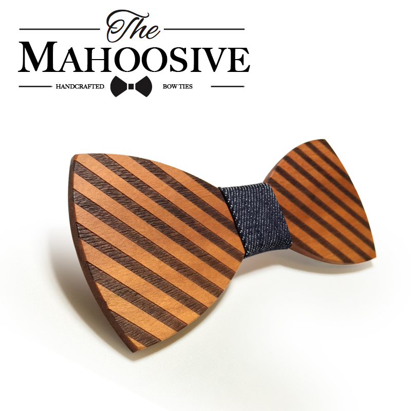 Mahoosive Striped Wood Bow Slips for menn Classic Wooden Bowties Neckwear Butterfly Wood Bow Slips Cravats Tilbehør Bowknot