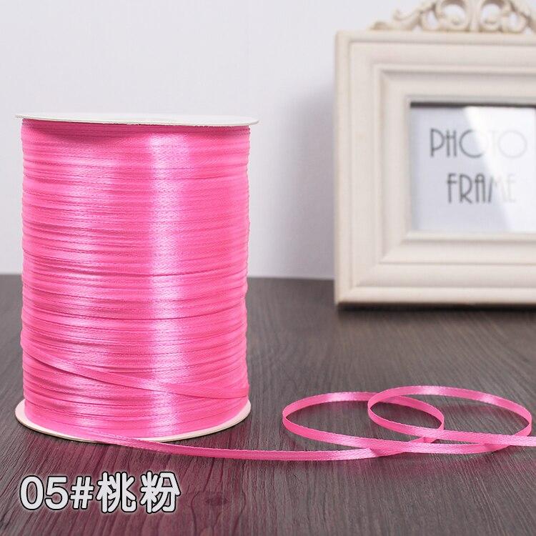 3 мм шелковые атласные ленты Рождество Хэллоуин Детский душ день рождения упаковка для свадебного подарка белый синий розовый зеленый фиолетовый ленты - Цвет: Bright Pink