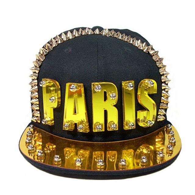 Adulto Placa PARIS Rua Hiphop Danceing Headwear Acrílico de Spike Studs Rivet Boné de Beisebol Rocha Snapback Chapéus