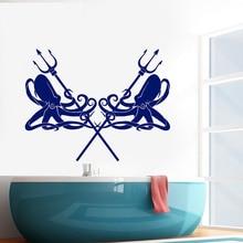 купить Marine Trident Kraken Ocean Style Wall Decal Vinyl Living Room Decoration Octopus Stickers  Mural for Bathroom Waterproof W503 по цене 489.79 рублей