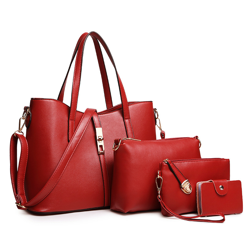 4 Pcs PU Leather Women Bag Handbags High Quality Casual Female Bags Trunk Tote Crossbody Messenger Bolsa Shoulder Bag kadell hollow designer handbags high quality women casual tote bag female large shoulder messenger bags pu leather business bag