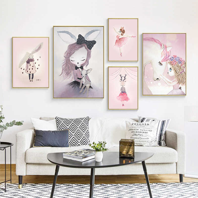 Home Decor Nordic Canvas Painting Wall Art Rabbit Girl F Pink Watercolor Print Kid Sweet Bedroom Living Room Poster Picture