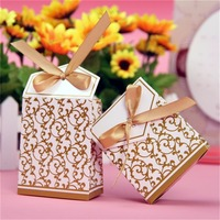 100pcs Gold Luxury Wedding Engagement Anniversary Party Favor Gift Boxes Festive Beautiful Universal Gift Box Hot