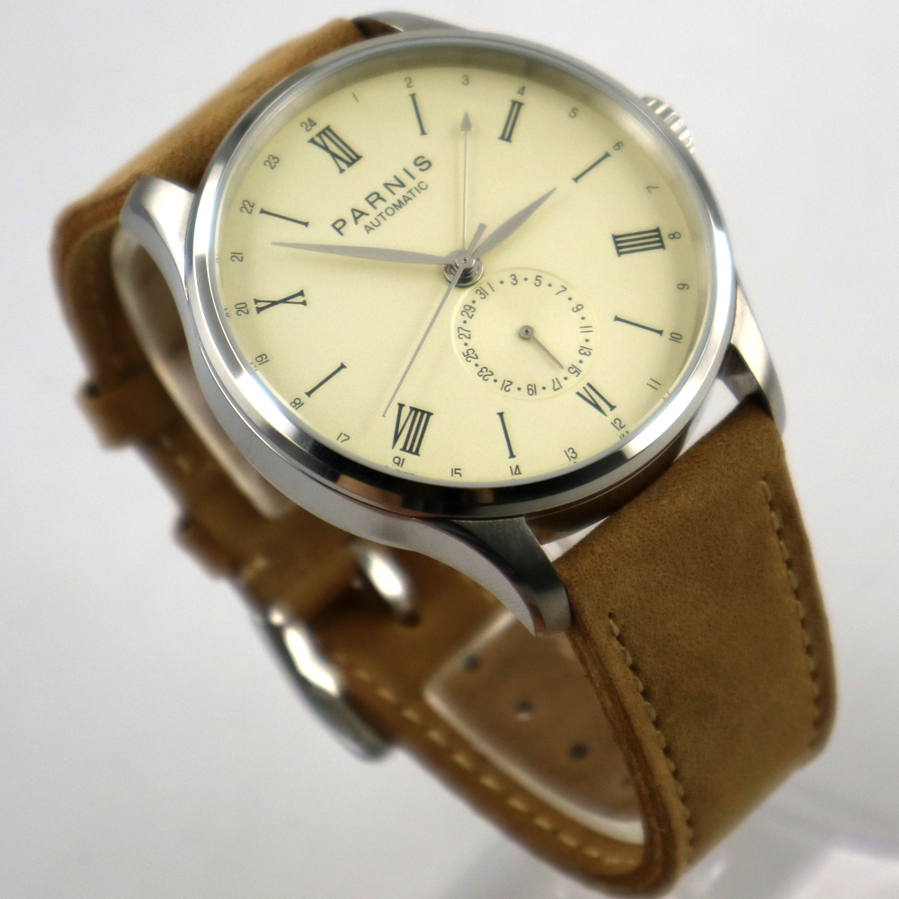 new arrive 42mm Parnis off-white dial 24 Hours Automatic Movement Men Watch
