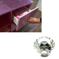 1pack 10Pcs 40mm Rhinestone Diamond Shape Crystal Glass Knob Cupboard Drawer Pull Handle Knob Free Shipping