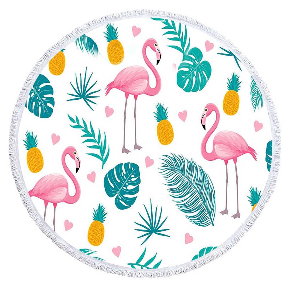 Boêmia flamingos grande toalha de praia 150cm, impressão redonda, microfibra esportiva yoga, cobertor, decoração caseira, estilo boho, toalhas de banho