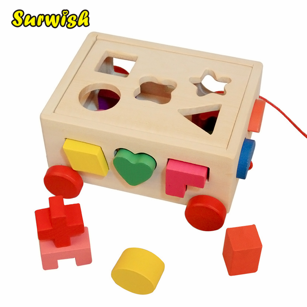 Surwish 15 Holes Pull Along Car Wooden Shape Sorter Early Education Toy For Kids learning education wood intelligence box montessori educational toys for children kids toy 13 holes shape sorter early toys