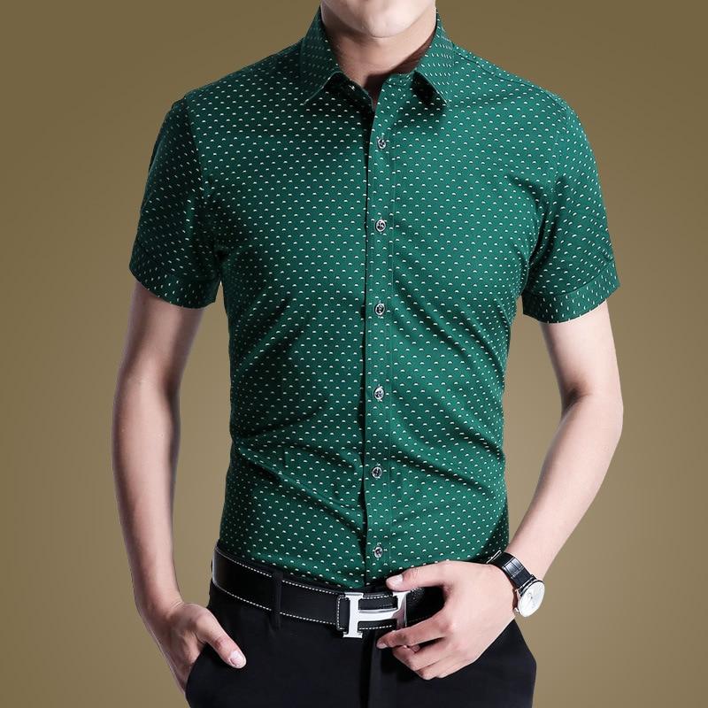 2015 Brand Polka Dot Mens Shirt Short Sleeve Button Up Shirts ...