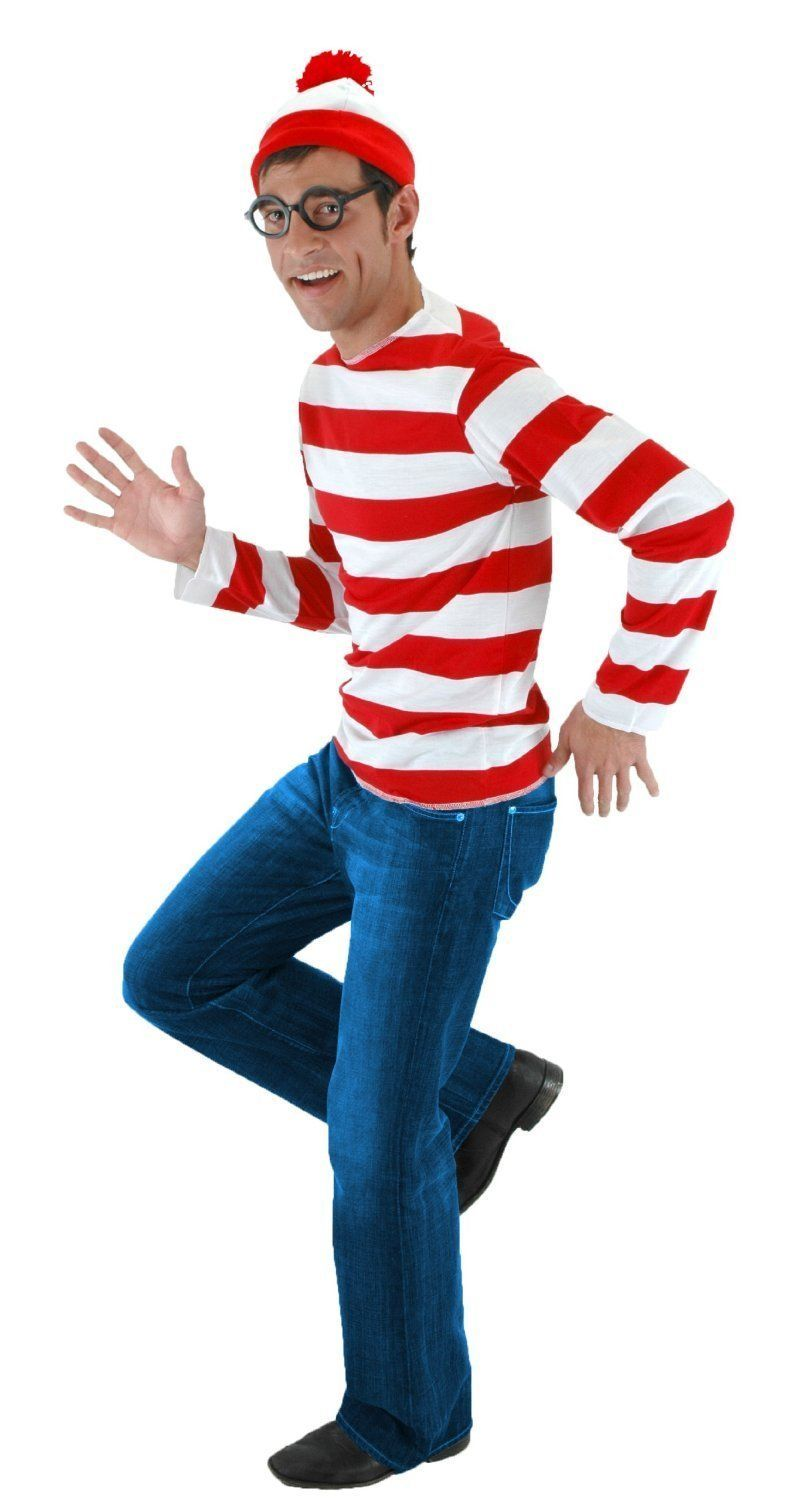Wheres Waldo Now Red&&White Stripes Cosplay Costume Adult Men T Shirt Sweater+Hat+Glasses For Christmas Halloween Party Suit
