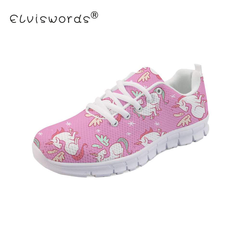 ELVISWORD Cartoon Unicorn Printed Women Flat Shoes Ladies Fashion Style Lace up Sneaker Shoes for Girls Cute Breathable Footwear