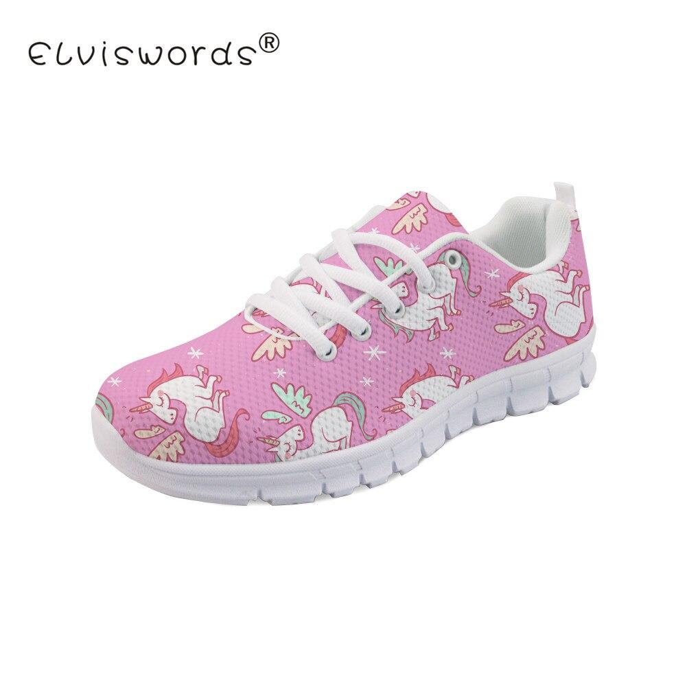 san francisco bcc89 8b26c ELVISWORD dibujos animados unicornio impreso mujeres zapatos planos señoras  moda estilo encaje-up zapatillas de deporte para niñas lindo calzado ...