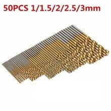 50Pcs/Set 1.0/1.5/2.0/2.5/3.0mm Hss Drill Bit High Steel Titanium Coated Drill Woodworking Wood Tool For Wood Plastic Aluminum цена в Москве и Питере