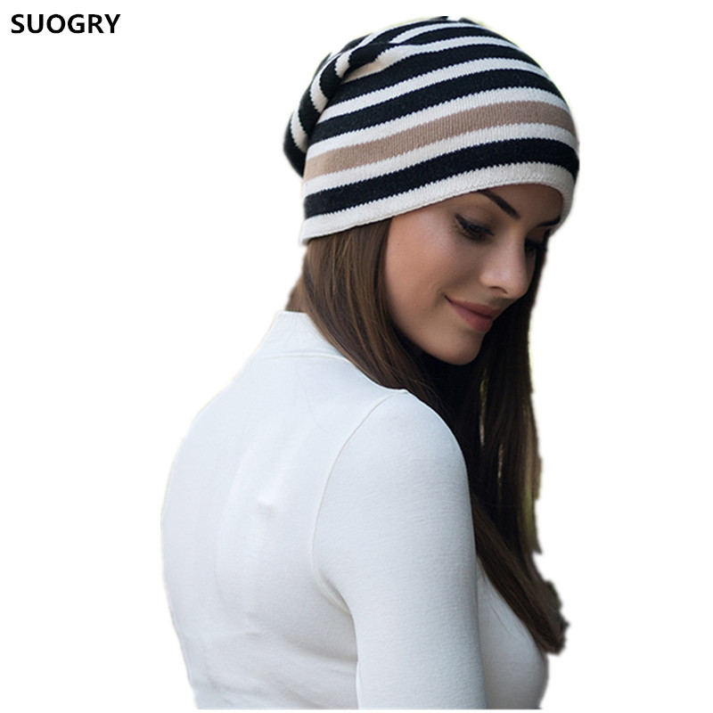 Wool Cashmere Winter Hats For Women High Quality Warm Women'S Casual The Zebra Stripes Knitted Hat Female Skullies Beanies