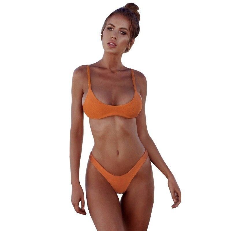 Minimalism Le Sexy Micro Bikini Set 2019 Solid Swimwear Brazilian Bikinis Thong Beach Wear Woman Swimsuit Bathing Suit biquini