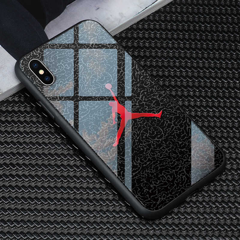 1a2942fb360e luxury tpu+Tempered glass Michael Jordan Phone Case for iphone X XR XS Max 7