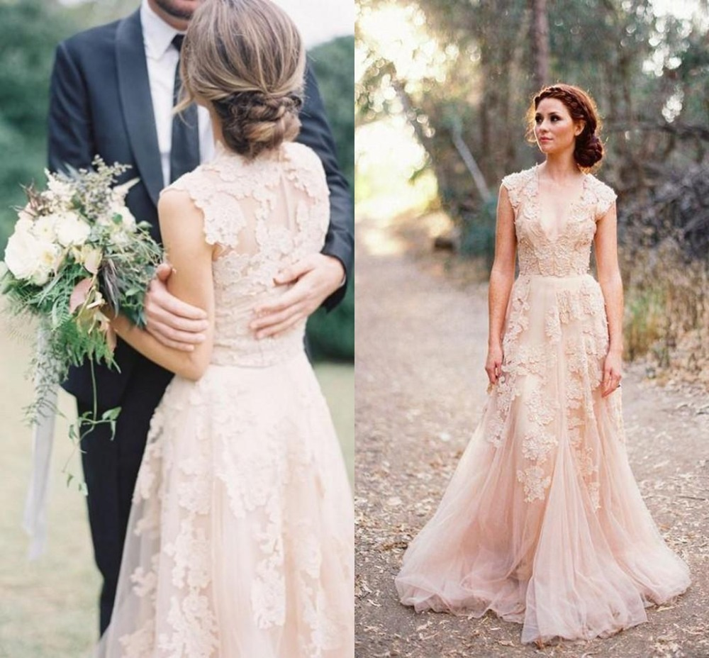 Custom plus size deep v neck cap sleeves blush pink lace for Cheap lace wedding dresses with sleeves