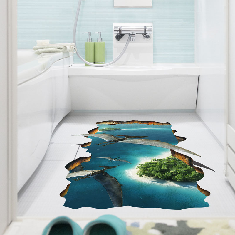 [Fundecor] 3D removable dinosaur original forest lake pvc wall stickers for kids room home decor living room self adhesive film