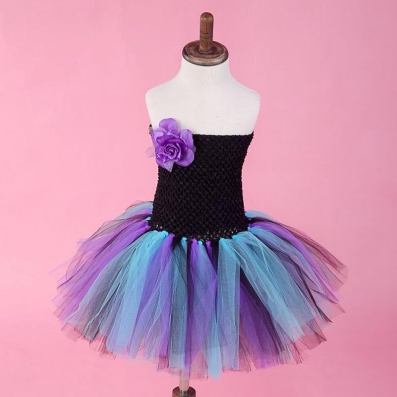 Nové Dívky Tutu Party Šaty Květina Bez rukávů Plesové šaty Bez ramínek Svatební Narozeniny Festival Baby Tyl Vestidos 1-8Y  t